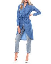 Polos & Button-Downs - L/S Knot Front Denim Tunic-2256803