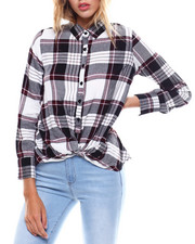 Womens-Fall - L/S Button Front Twist Front Blouse-2256855