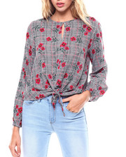 Womens-Fall - L/S Tie Front Blouse/Keyhole-2256734