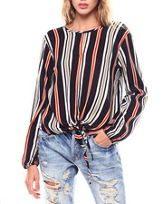 Womens-Fall - L/S Tie Front Blouse/Keyhole-2253048