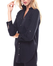 Polos & Button-Downs - L/S Roll Tab V-neck Tunic/Hardware Detail-2256425