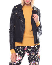Womens-Winter - Faux Leather Moto Jacket-2250032