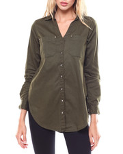 Womens-Fall - L/S Roll Tab V-neck Tunic/Hardware Detail-2256446