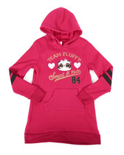 Sizes 7-20 - Big Kids - Fleece Sweatshirt Dress w/Hood (7-16)-2253744