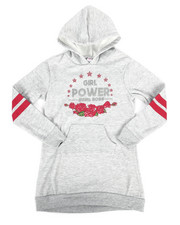 Sizes 7-20 - Big Kids - Fleece Sweatshirt Dress w/Hood (7-16)-2253736