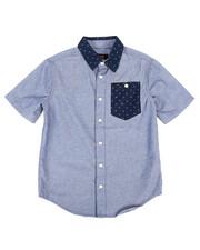 Sizes 8-20 - Big Kids - Short Sleeve Chambray Shirt (8-20)-2253716