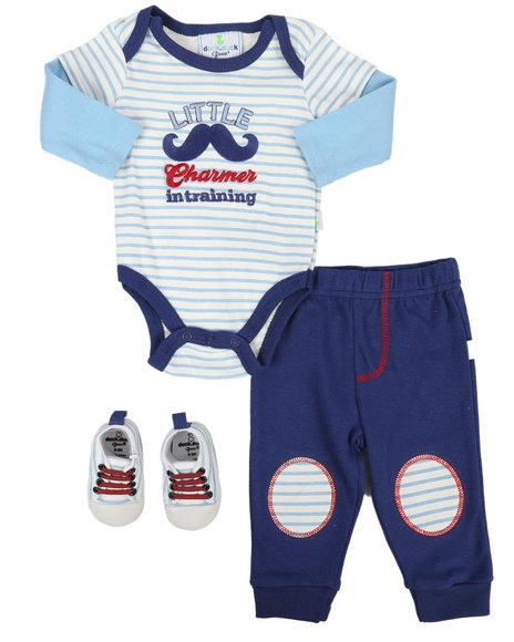 Duck Duck Goose - Dog Print 3Pc Bodysuit & Pant Set (Newborn)