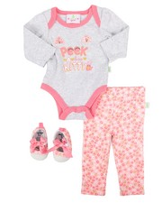 Infant & Newborn - 3 Piece Peek A Boo Knit Set (Infant)-2258552