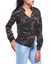 Polos & Button-Downs - Roll Sleeve Bottom Front Camo Shirt-2260274