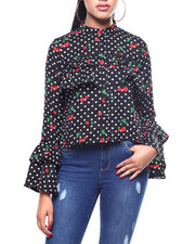 Womens-Fall - L/S Ruffle Sleeve Cherry Print Blouse-2257764