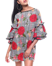 Womens-Fall - Floral Plaid Bell Sleeve Dress-2257794