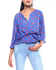 Womens-Fall - L/S Knot Front Blouse-2257819