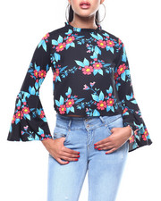 Long-Sleeve - L/S Floral Bell Sleeve Skimmer Blouse-2257785