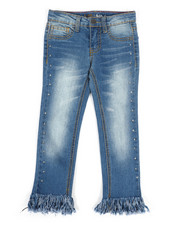 Jeans - Frayed Cropped Jeans w/Studs (4-6X)-2260217