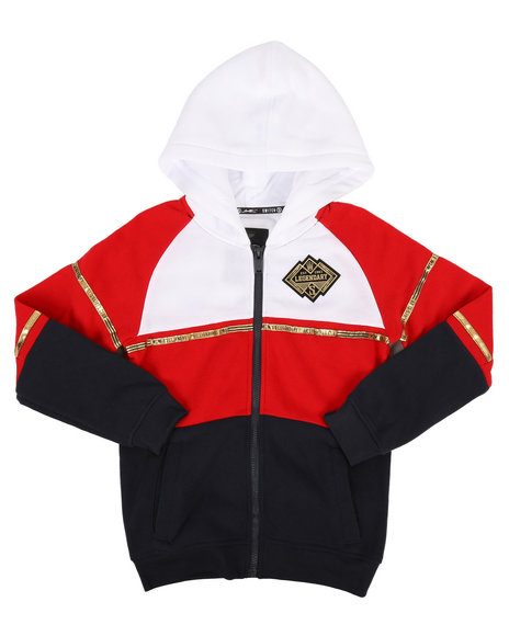 SWITCH - Color Block Gold Trim Full Zip Hoodie  (8-20)