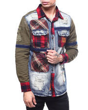 Heritage America - Mixed Fabric Distressed Shirt Jacket-2262865