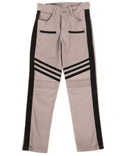 Bottoms - Stretch Twill Moto Pants w/Contrast Stripe Panels (8-20)-2261266