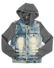 Arcade Styles - Hooded Denim Jacket (8-20)-2261383