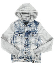 Arcade Styles - Hooded Denim Jacket (8-20)-2261368