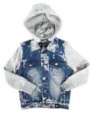 Boys - Hooded Denim Jacket (4-7)-2261373