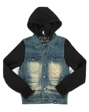 Arcade Styles - Hooded Denim Jacket (8-20)-2261357