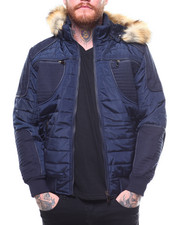 Heavy Coats - QUILTED JACKET W FAUX FUR HOOD BY ROBERT PHILLIPE-2264445