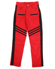 Bottoms - Stretch Twill Moto Pants w/Contrast Stripe Panels (8-20)-2265276