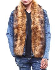 Denim Jackets - Detachable Faux Fur Denim Zip Jacket-2266356