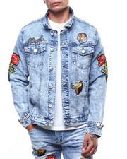 Denim Jackets - Embroidered Patch Paint Splatter Denim Jacket-2266312