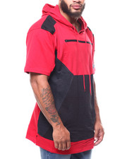 Big & Tall - Colorblock S/S Pullover Hoodie W/ Waterproof Zip &Bomber Pocket (B&T)-2266255