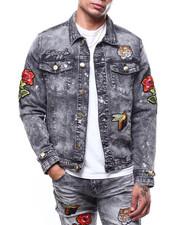 Denim Jackets - Embroidered Patch Paint Splatter Denim Jacket-2266300