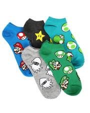 DRJ SOCK SHOP - 5 Pack Super Mario No Show Socks-2266058