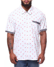Big & Tall - Flamingo All-Over Print S/S Woven Shirt (B&T)-2265142