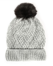 Hats - Chenille Ribbed Cuff Hat w/Faux Pom-2266572