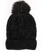 Hats - Chenille Ribbed Cuff Hat w/Faux Pom-2266573