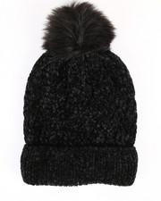 Accessories - Chenille Ribbed Cuff Hat w/Faux Pom-2266573