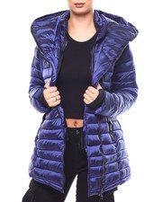 Fashion Lab - Lightweight Quilted Hooded Long Bubble Asymmetrical Zip-2266536