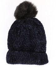 Hats - Chenille Ribbed Cuff Hat w/Faux Pom-2266575
