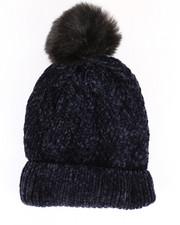 Accessories - Chenille Ribbed Cuff Hat w/Faux Pom-2266575