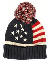 Hats - Stars And Stripes Knit Hat w/Pom-2266432