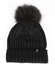 Hats - Metallic Knit Hat w/Faux Fur Pom-2266570