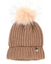 Hats - Metallic Knit Hat w/Faux Fur Pom-2266571
