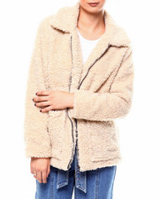 Plus Size - Sherpa Zip Front Jacket-2266434