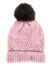 Hats - Chenille Ribbed Cuff Hat w/Faux Pom-2266574