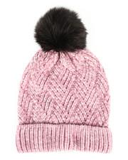 Accessories - Chenille Ribbed Cuff Hat w/Faux Pom-2266574