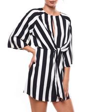 Dresses - L/S Stripe Keyhole Front Tie Front Dress-2267115
