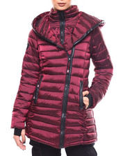Womens-Winter - Lightweight Quilted Hooded Long Bubble Asymmetrical Zip-2266504