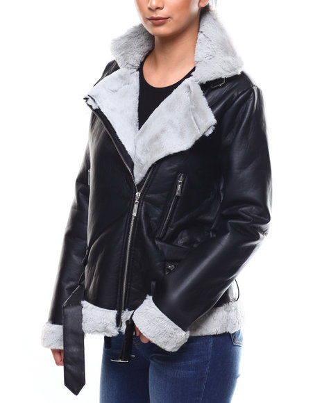 Fashion Lab - Faux Leather Fur Lined Moto Jacket