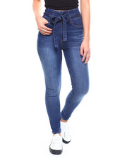 Jeans - Hi-Rise Belted Gathered Waist Skinny Jeans-2266675