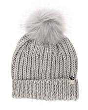 Hats - Metallic Knit Hat w/Faux Fur Pom-2266426